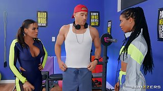 Fitness fanatics Luna Star and Kira Noir share a young guy's locate