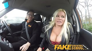 Fake Driving School squirting high point busty milf takes creampie after lesson