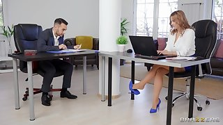 It's get under one's first time for this office babe later on she gets laid less one of get under one's co-workers