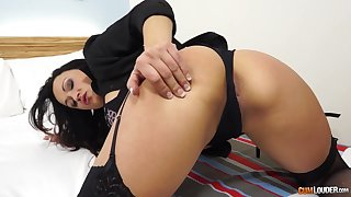 Lewd milf in morose lingerie and stockings Sara May is craving for dirty sex and cum albatross