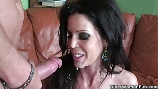 Skinny milf Tabitha Stevens gets fucked coupled with facialized