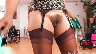Big butt MILF Danica Collins drops her panties after a long time washing