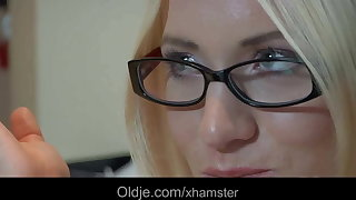 Thick old cock fucks spectacled hot blonde teen