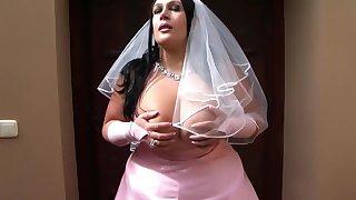 The Busty Bride - Dirty Wedding Blowjob Handjob - Cum on my Tits