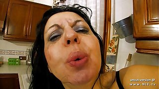 Horny french milf sodomized and double plugged with vegetables in the kitchen