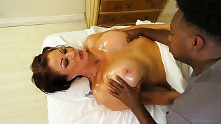 Black masseur fucks killing hot cougar Vanessa Videl coupled with cums connected with her mouth