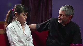 Naturally stuck pigtailed Audrey Noir gets poked from behind by older pervert