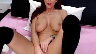 Busty milf plays with dildo unattended masturbation