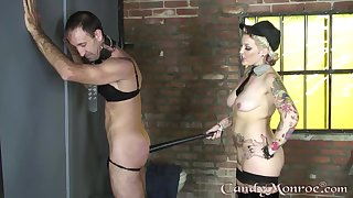 Candy Monroe plays with her male slave give pretty imprecise modes
