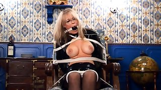 Busty blonde mature hoe in stockings pity fucks herself