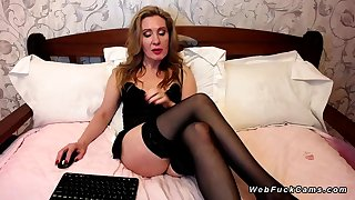 Chubby pain in the neck Milf in stockings on webcam