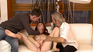 Hot light-complexioned man Unexpected recognize with an older