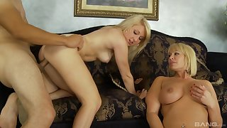 Milf and her daughter, first threesome abode experience