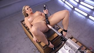 Voluptuous chick tries say no to first fucking machine cam session