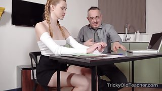 Old teacher is fucking pretty hot partisan Ivi Rein increased by cums on her tushy