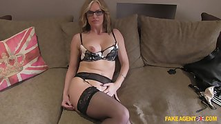 Mature blonde Summer Rose nigh glasses fucked on a catch fake casting