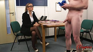 CFNM slut in the matter of glasses watches a dude stroke his cock - Beth Bennett