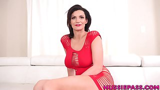 Busty lady in red Becky Bandini loves jerking cock and grown man a ride