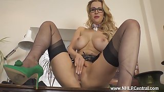 Huge Tits Sexy Blonde Secretary With Specs Wanks In Nylons Heels - Lucy Alexandra